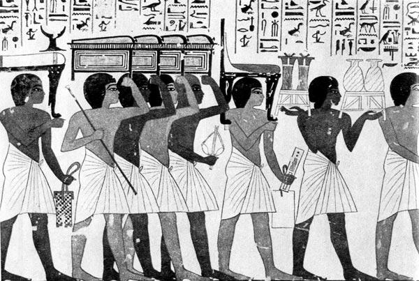 40. Погребальное шествие. Роспись из гробницы Paмозa,XVIII династия. Фивы. На рабах короткие белые набедренные повязки, типичная одежда в краях жаркого климата.