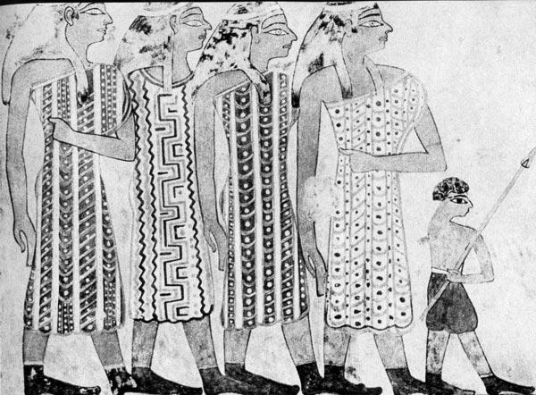 41. Семитки. Роспись из гробницы управляющего Хнемхотена, XII династия. Бени Хассан. Короткий каласирис простого покроя из узорчатой синей, зеленой и красной ткани,вероятно, набивной.
