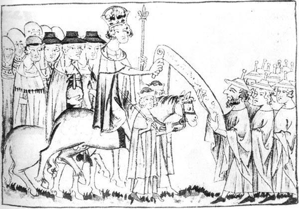 148. Генрих VII после коронации (1308) принимает еврейскую делегацию. Иллюстрация из Архива Бальдинея в Коблене. На членах традиционная еврейская одежда и шляпы с острым наконечником, предписанные евреям лютеранским церковным собором 1215 года.