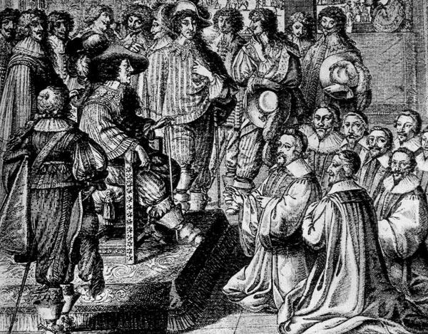 256. Абрахам Бос, Парижское купечество перед королем Людовиком XIII. Гравюра. Консервативная мужская мещанская одежда с плащом, которую носят купцы, противопоставлена модному придворному облачению королевской свиты.