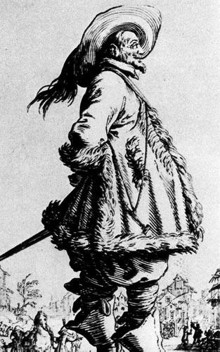 259. На мужчине широкая рубенсовская шляпа с перьями, широкий, окаймленный мехом плащ, длинные штаны и высокие сапоги.