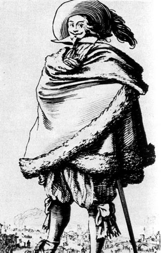 260. Дворянин с усами а ля Генрих IV. На нем рубенсовская шляпа с перьями, мягкий отложной воротник, присборенные у колен штаны с лентами, широкий плащ, отделанный мехом, и ботинки, украшенные цветами.