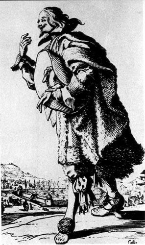 261. Здесь художник изображает характерную дворянскую одежду XVII века: подбитый мехом плащ, штаны с лентами и украшенные цветами нижние туфли, поверх которых надевали башмаки на деревянной подошве.