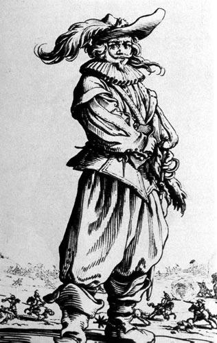 262. У этого дворянина куртка в виде лат с длинными штанами.