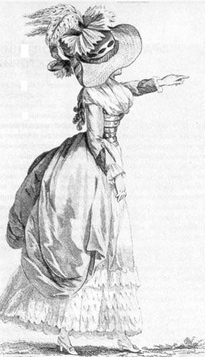 325. Из французского модного журнала. Молодая дама в рединготе аль англоман (a I'anglomane) и в соломенной шляпке, украшенной перьями.