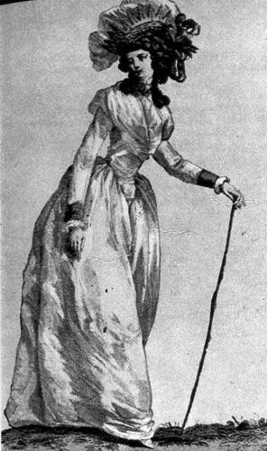 327. Из французского модного журнала. Молодая Дама одета в неглиже, на голове у неё головной убор токе а ля курок дамур (toque a la couronne d'amoui).