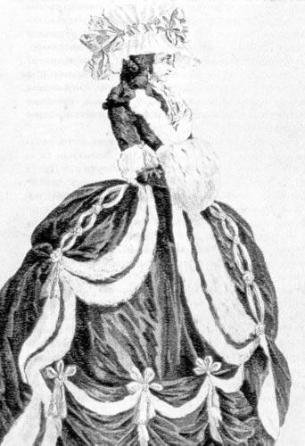 329. Из французского модного журнала. Придворный зимний костюм с меховой оторочкой.