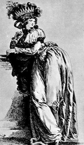 331. Из французского модного журнала. Девушка в неглиже а ль англэз (a I'anglaise).