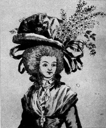 336. Один из вариантов шляпы, называемый бонне а ля нотабль (bonnet a la notable), которую надевали на белый напудренный парик