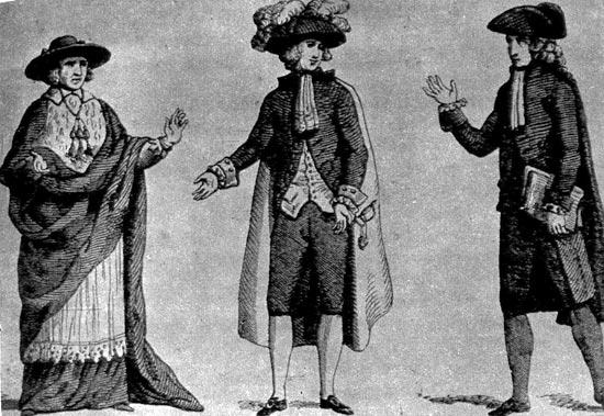 339. Духовенство, дворянство, третье сословие. Гравюра того времени. Одежда представителей третьего сословия была установлена в 1789 году.