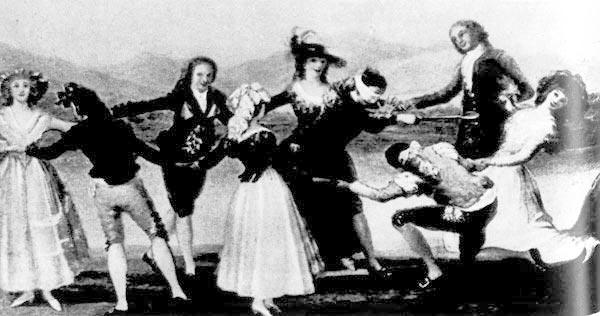 341. Франциско де Гойя, Игра в «слепую бабу». Национальный музей Прадо, Мадрид, о этом наряде мода рококо смешалась с национальным испанским костюмом.