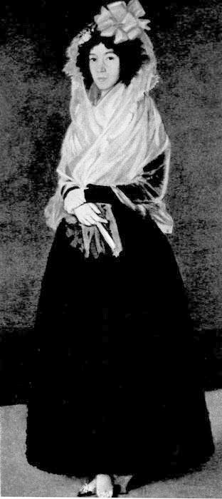 342. Францискоде Гойя, Графиня дель Карпио, герцогиня Соланская.Лувр, Париж. На испанскую придворную одежду конца XVIII века также явно оказал влияние национальный костюм.