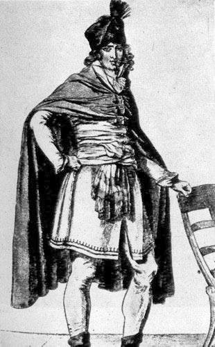 345. Жак-Луи Давид. Эскиз мещанской одежды, 1794г. Французский художник, который постоянно активно участвовал в политических событиях, он был якобинцем и последователем Робеспьера, создал этот рисунок для «Ну во Франса» (Nouveau Franfais).