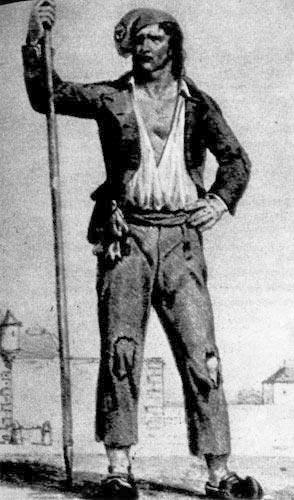348. Революционер с копьем. Гравюра неизвестного художника 1793 года. На голове у него Фригийский колпак с кокардой, на нем надеты рубашка, короткий жилет с рукавами карманьол ь (carmagnole), длинные штаны матло (matelots) и деревянные башмаки сабо (sabots).