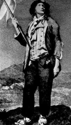 349. Знаменосец. Гравюра на меди по Луизу Буали. вместо якобинской шапки у него на голове двурогая шляпа с кокардой, на нем полосатый жилете жабо, короткая куртка и длинные штаны (матло).