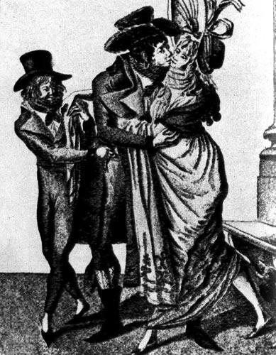 353. Французская карикатура 1796 года. Анкруаябль ...! (Невероятные... !) Этим французским словом называли тогда франтов, одевающихся чрезмерно модно.