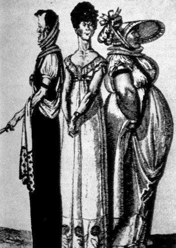 355. Французская карикатура «Три грации» времен директории. Рисунок явно намекает на то, что свободные, ниспадающие одежды, без корсета, подходят далеко не всем женщинам.