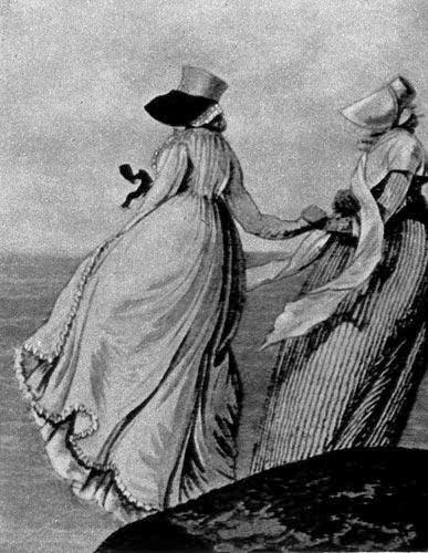 356 «Гэллери ов Фэшн»(Gallery of Fashion), Лондон, 1797 г. Модный силуэт того времени очень хорошо виден на этом рисунке из английского модного журнала; шляпа с широкой лентой в профиль закрывает лицо.