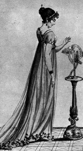357. «Журнал де дам» (Journal des dames), 1799 г. Прическа а ля олландэз (a la hollandaise) и шмиз, который книзу расширяется до шлейфа, украшенного искусственными цветами.