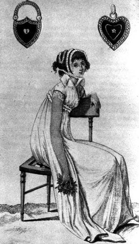 358. «Журналдедам», 1799 г.Парижская модная одежда конца столетия: сельский чепчик, украшенный тюлем.