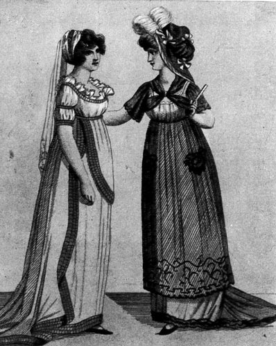 359. «Зэ Лейдиз Мэгэзин» (The Ladies Magazine), 1800 г. Эти английские шмизы украшены лентами и воланами.