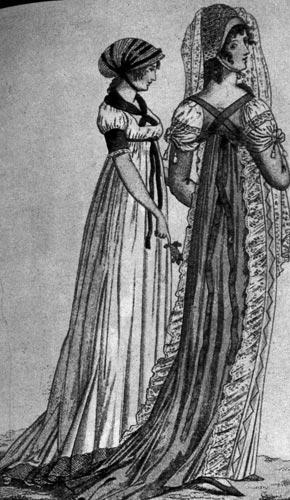 360. Из модного журнала, 1801 г. У вечерних платьев того времени ниспадающие линии, пояс высоко завязан.