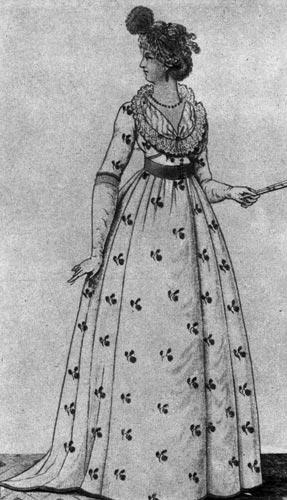 361. «Журнал де дам», 1799 г. Лондонские дамы того времени носят шмизы самые разнообразные. У этой дамы вырез украшен кружевом, платье дополняет веер и длинные перчатки.