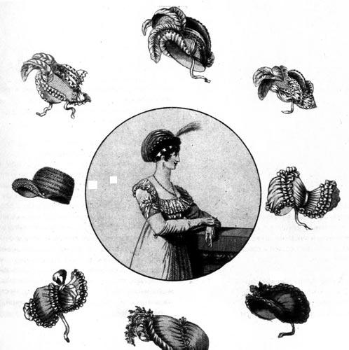 362. Из модного журнала, 1803 г. Рисунки модных шляпок и чепцов, которые носили к выходным платьям.