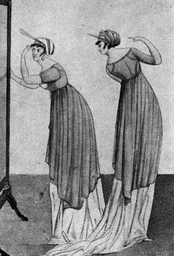 363. «Гамбургер Джёрнал дер Моде унд Элеганц» (Hamburger Journal der Mode und Eleganz), 1802 г. У платьев двойная юбка, нижняя достигает земли и заканчивается шлейфом, верхняя достигает колен и сзади оформлена в виде угла.