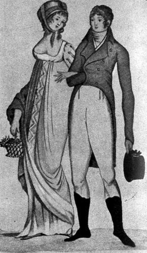 364. «Гамбургер Джёрнал дер Моде унд Элеганц», 1803 г. У дамы через руку переброшена шаль, мужчина одет во фрак и белые панталоны, на нем высокие сапоги.