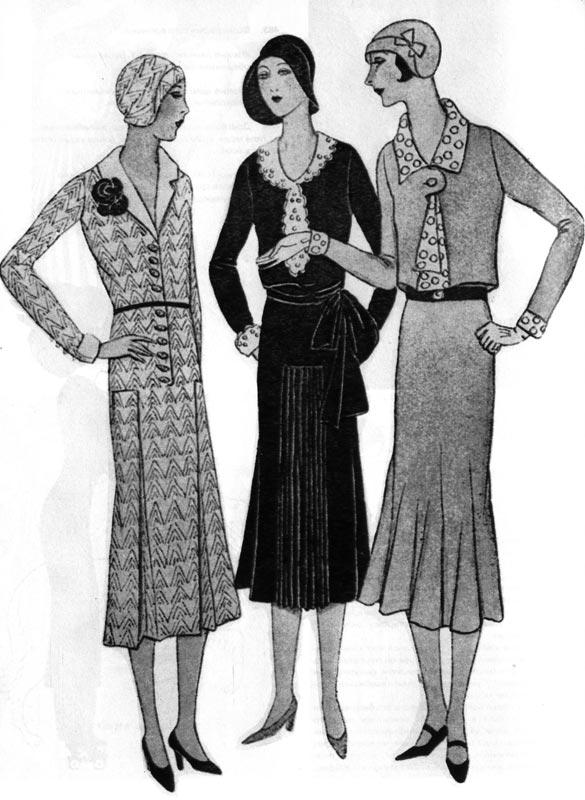 488. «Но луазир» (Nos loisirs), 1930 г. У выходных платьев тридцатых годов юбки только закрывают колени, ровная линия платья не подчеркивает талии.
