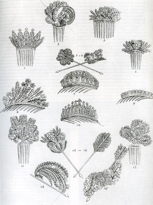550. Из модного журнала, около 1832 г. Декоративные шпильки и гребни, пышно украшенные, положили конец сложным прическам стиля бидермейер.