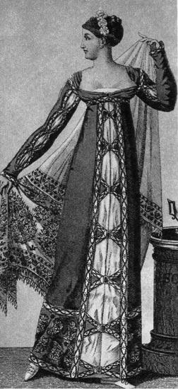 808. «Костюм паризьен», 1811г. Вечерний туалет дополняет кашемировая шаль.